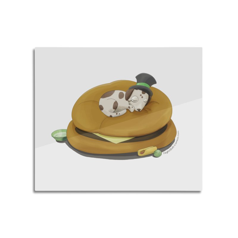 Puppy on a Burger Bed Home Mounted Aluminum Print by Night Shift Comics Shop