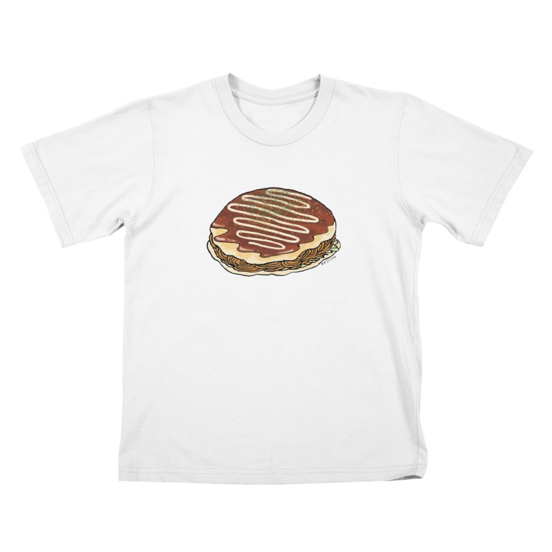 okonomiyaki in Kids T-Shirt White by Nihongo Flashcards Shop