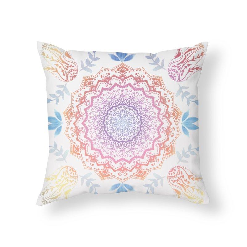 BOHO HAMSA MANDALA Home Throw Pillow by nika's Artist Shop