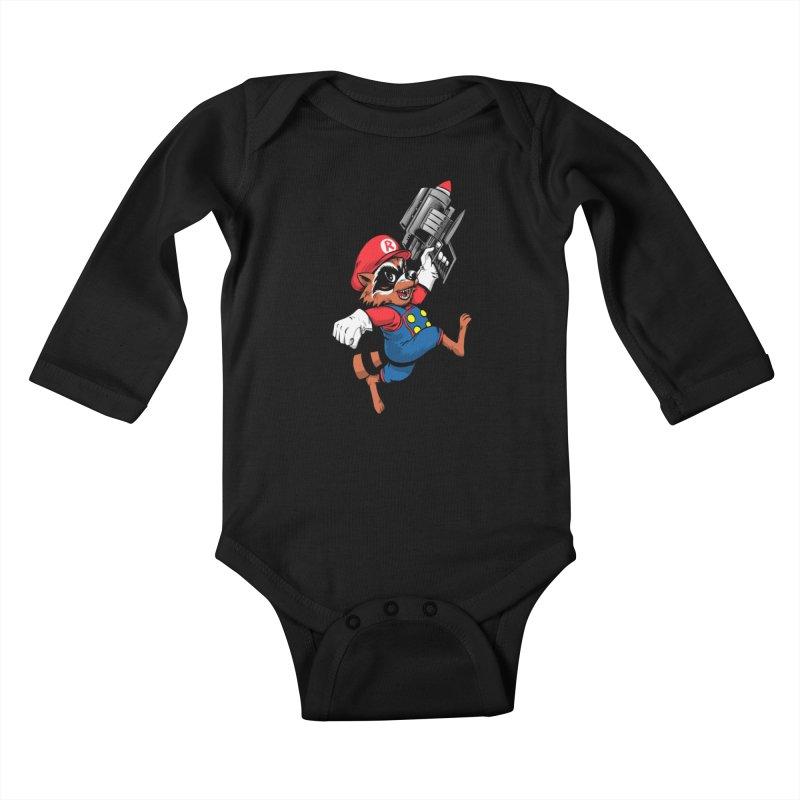 Super Raccoon Kids Baby Longsleeve Bodysuit by Nikoby's Artist Shop