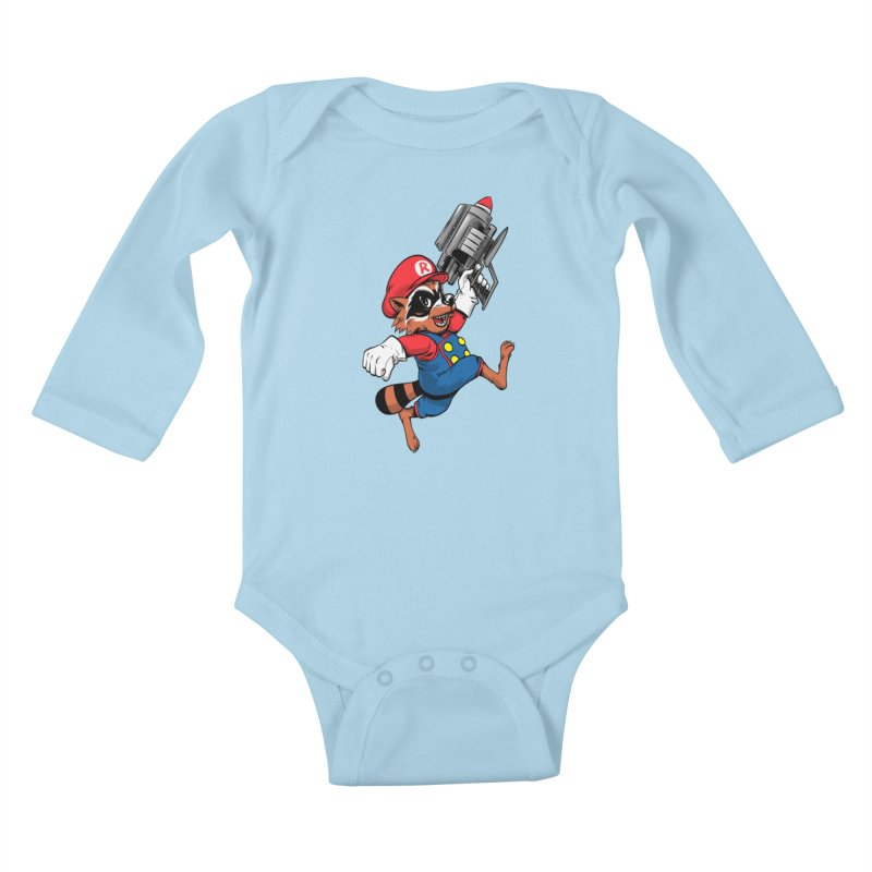 Super Raccoon Kids Baby Longsleeve Bodysuit by Nikoby's Artist Shop