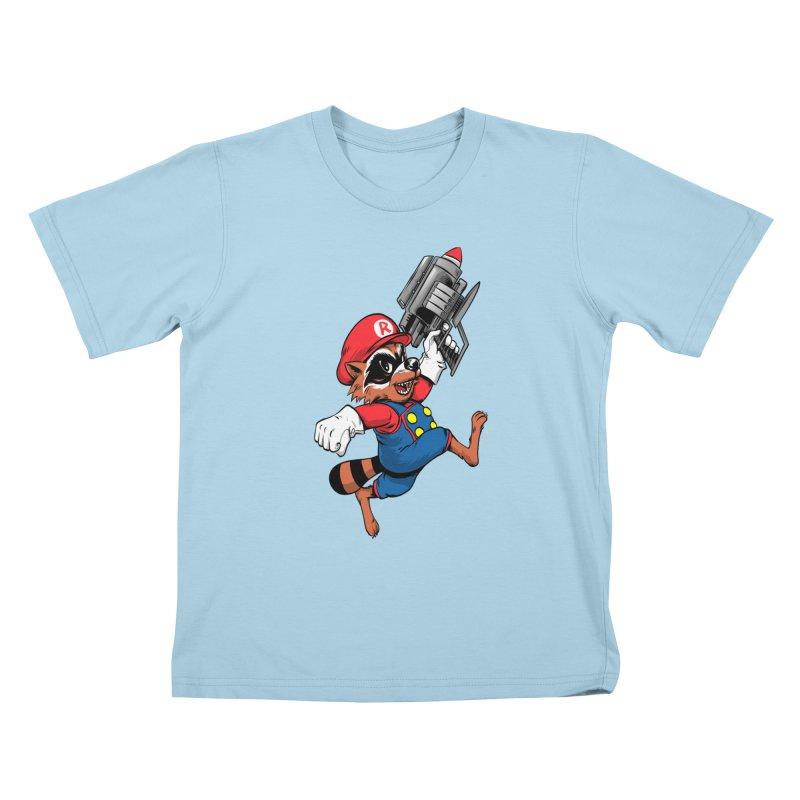 Super Raccoon Kids T-Shirt by Nikoby's Artist Shop
