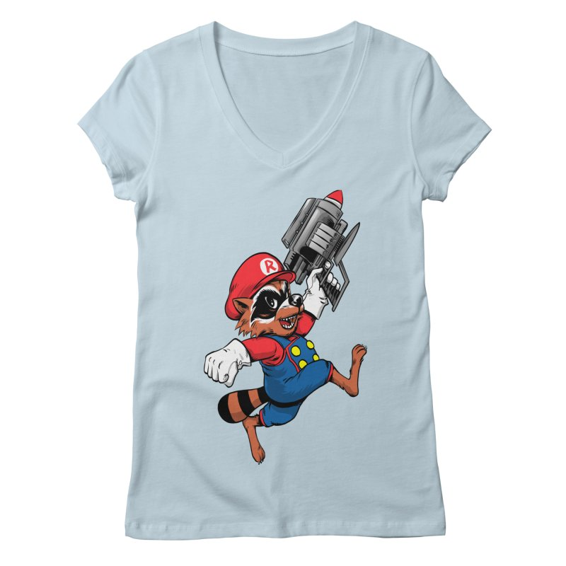 Super Raccoon Women's V-Neck by Nikoby's Artist Shop