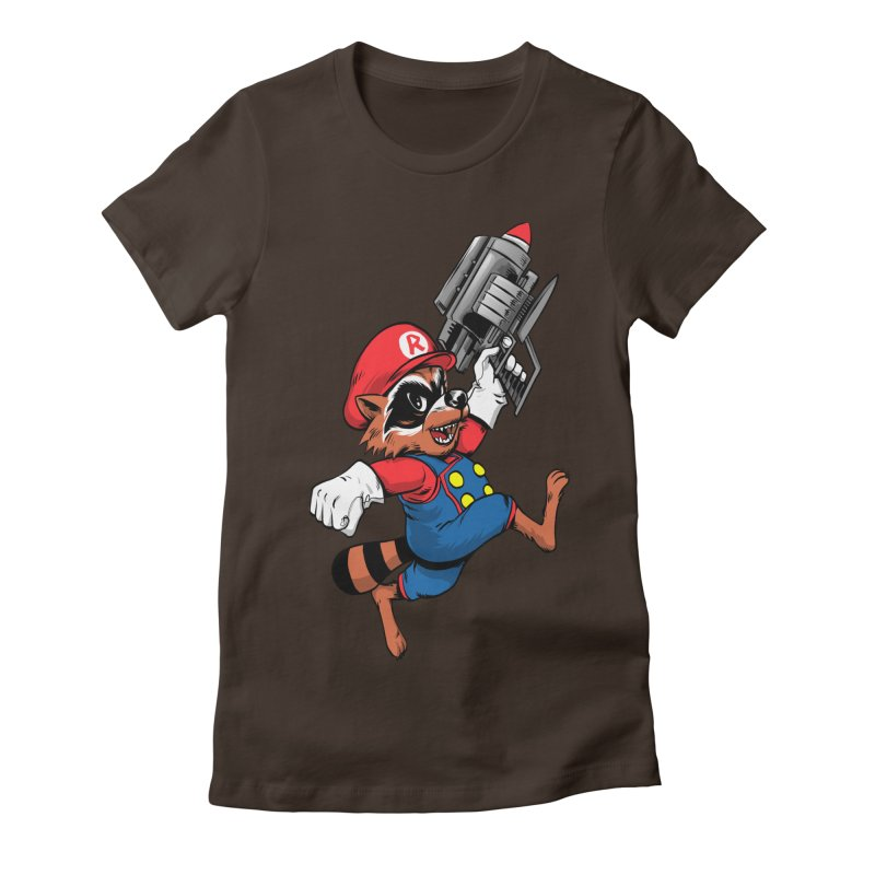 Super Raccoon Women's Fitted T-Shirt by Nikoby's Artist Shop