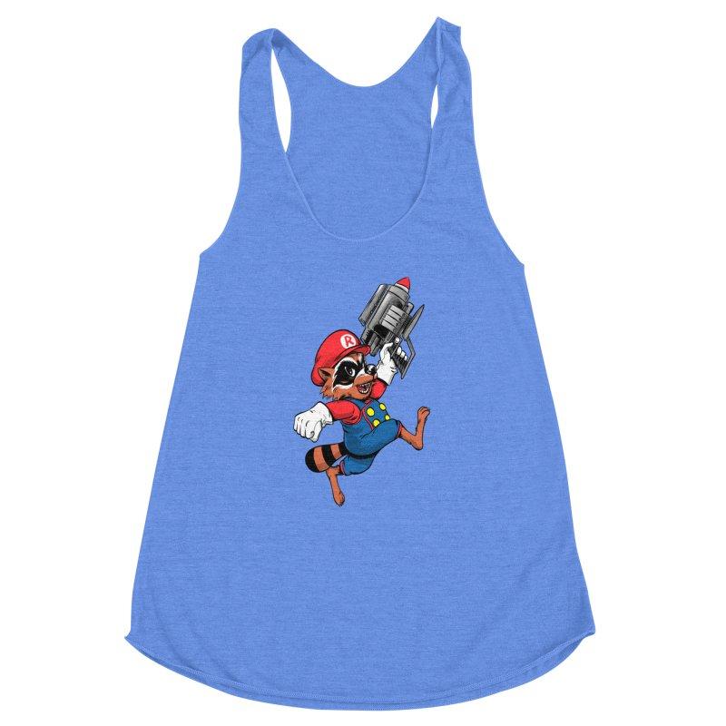 Super Raccoon Women's Racerback Triblend Tank by Nikoby's Artist Shop