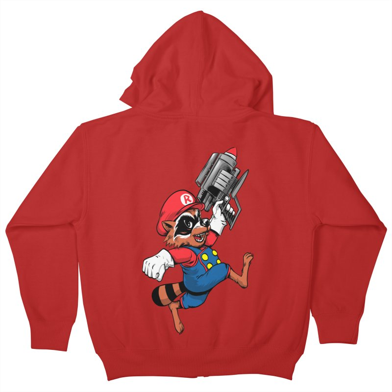 Super Raccoon Kids Zip-Up Hoody by Nikoby's Artist Shop