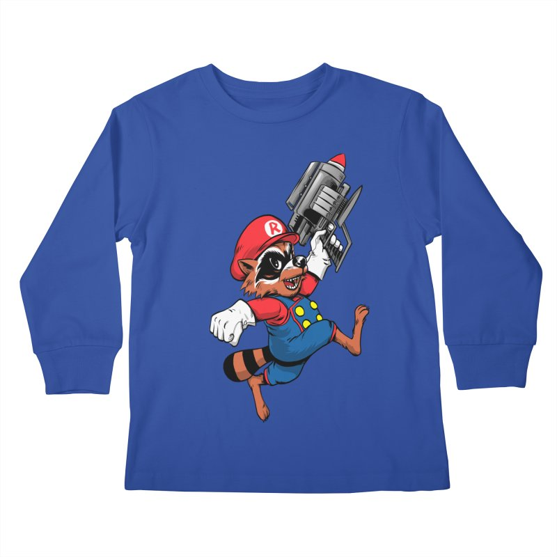 Super Raccoon Kids Longsleeve T-Shirt by Nikoby's Artist Shop