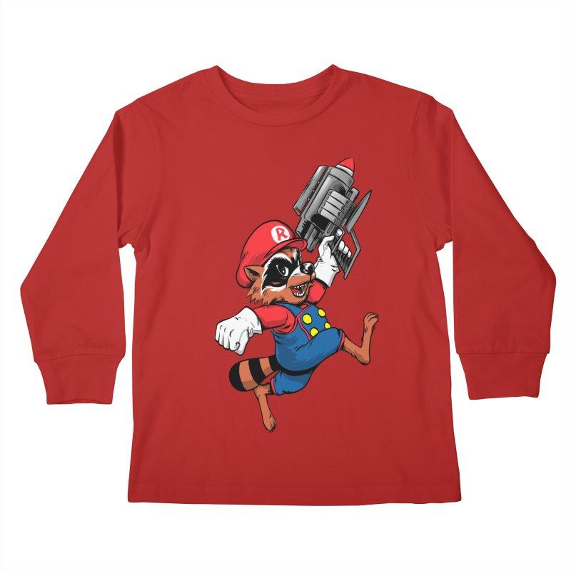 Super Raccoon Kids Longsleeve T-Shirt by Nikoby's Artist Shop