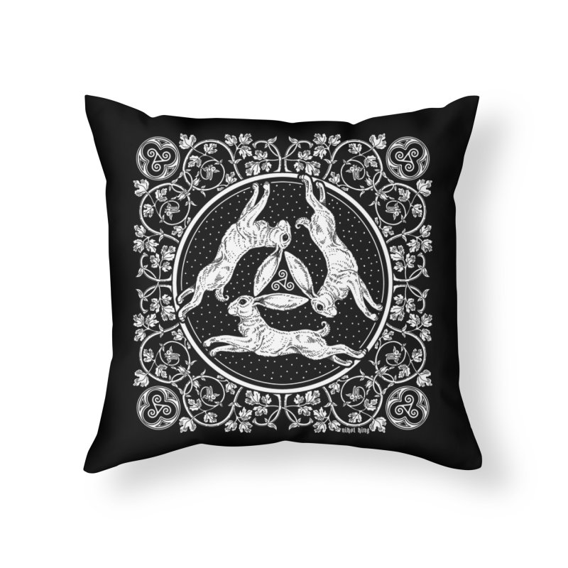Triple Hares Home Throw Pillow by Nikol King's Artist Shop