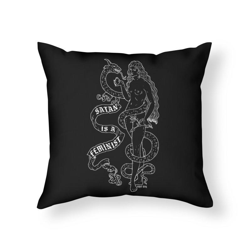 Satan is a Feminist Home Throw Pillow by Nikol King's Artist Shop