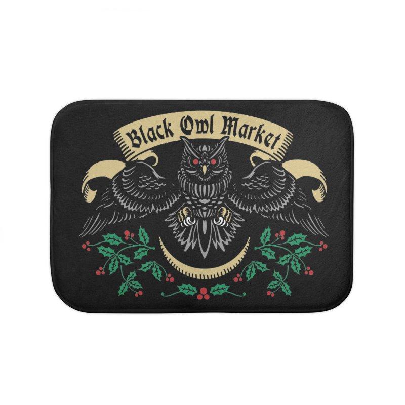 Black Owl Market Home Bath Mat by nikolking's Artist Shop