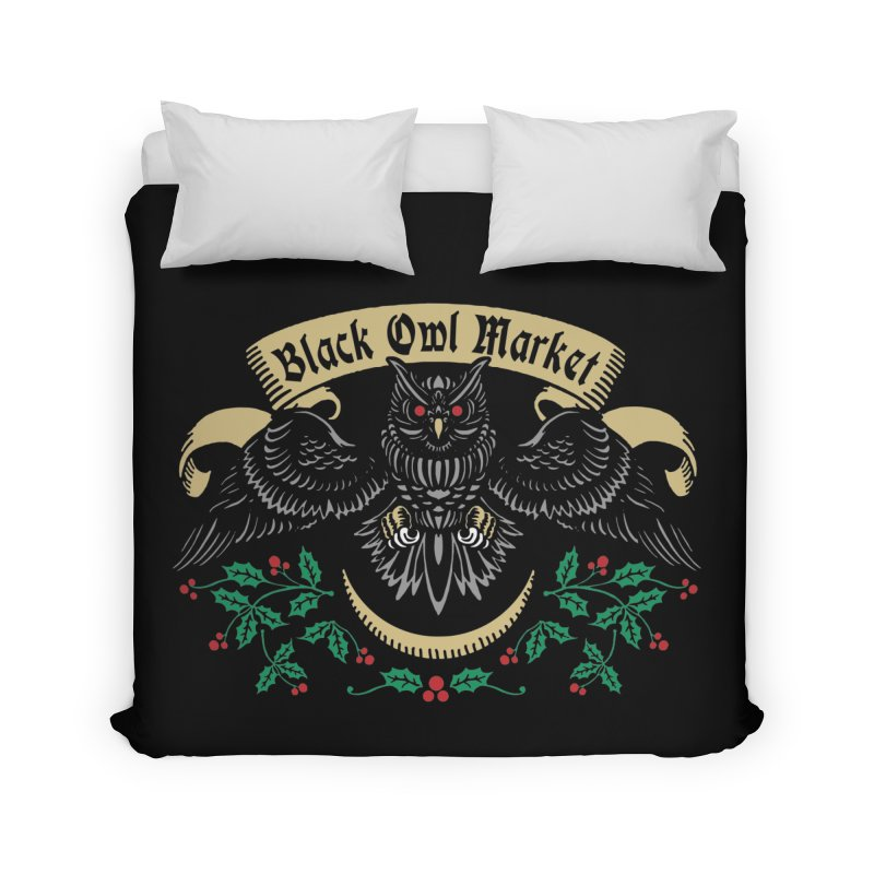 Black Owl Market Home Duvet by nikolking's Artist Shop