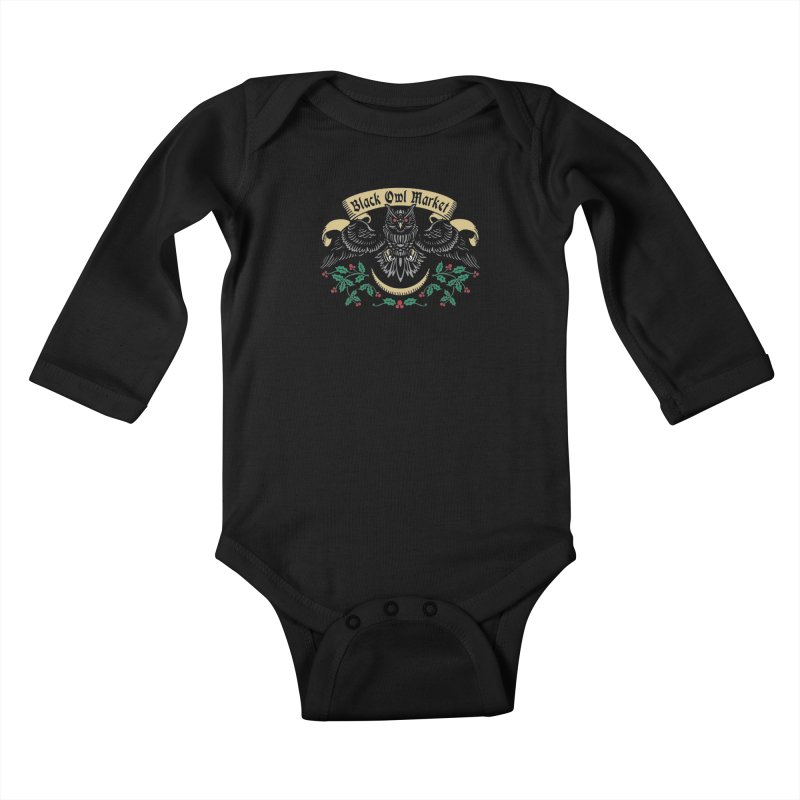 Black Owl Market Kids Baby Longsleeve Bodysuit by nikolking's Artist Shop