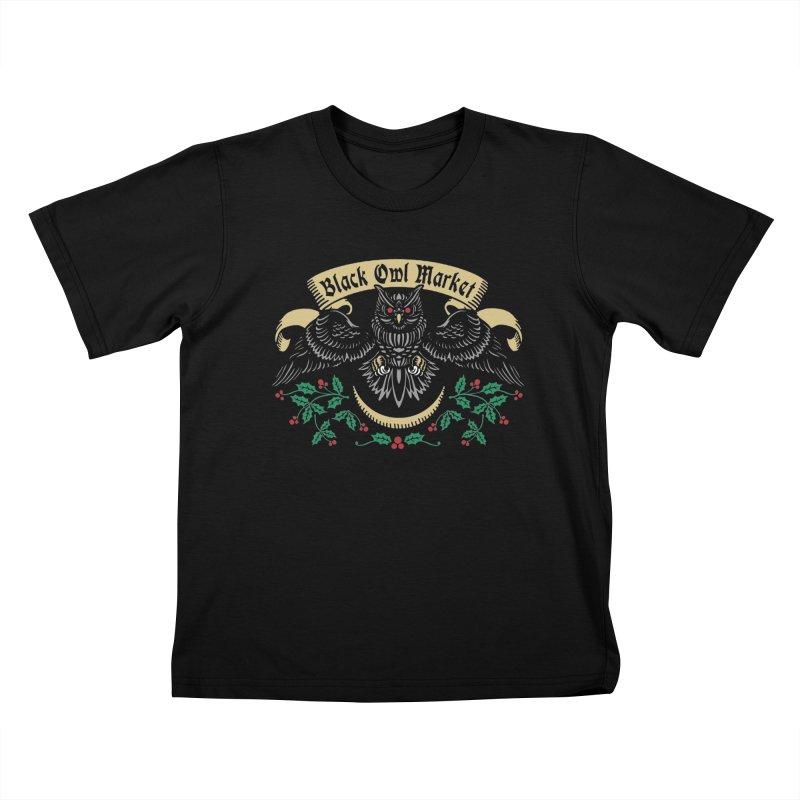 Black Owl Market Kids T-Shirt by nikolking's Artist Shop