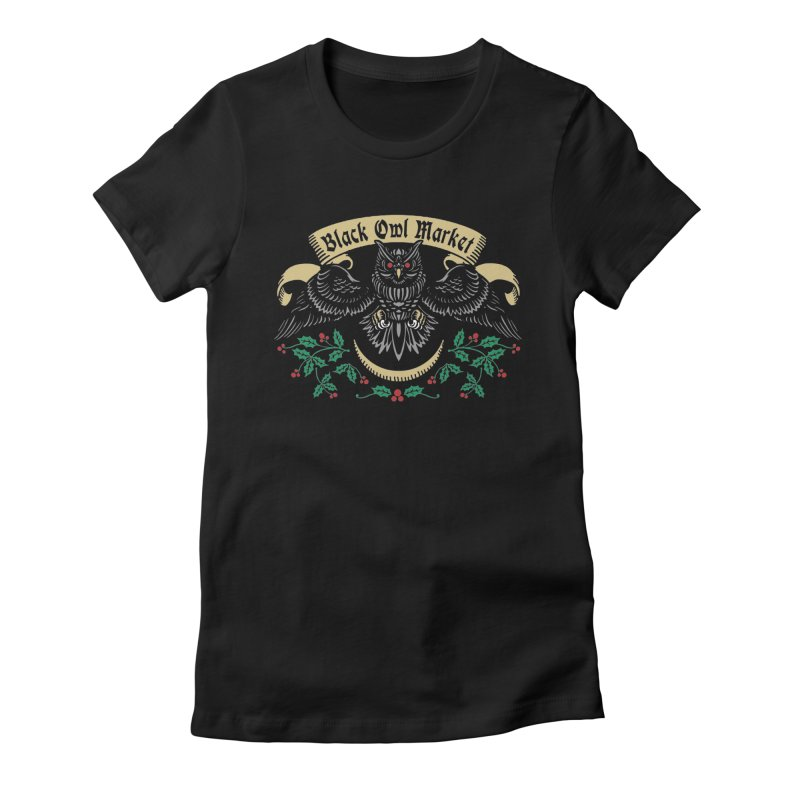 Black Owl Market Women's Fitted T-Shirt by nikolking's Artist Shop