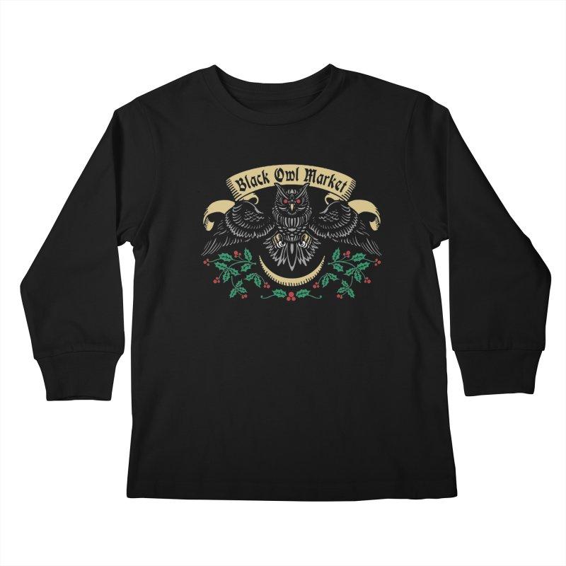 Black Owl Market Kids Longsleeve T-Shirt by Niko L King's Artist Shop