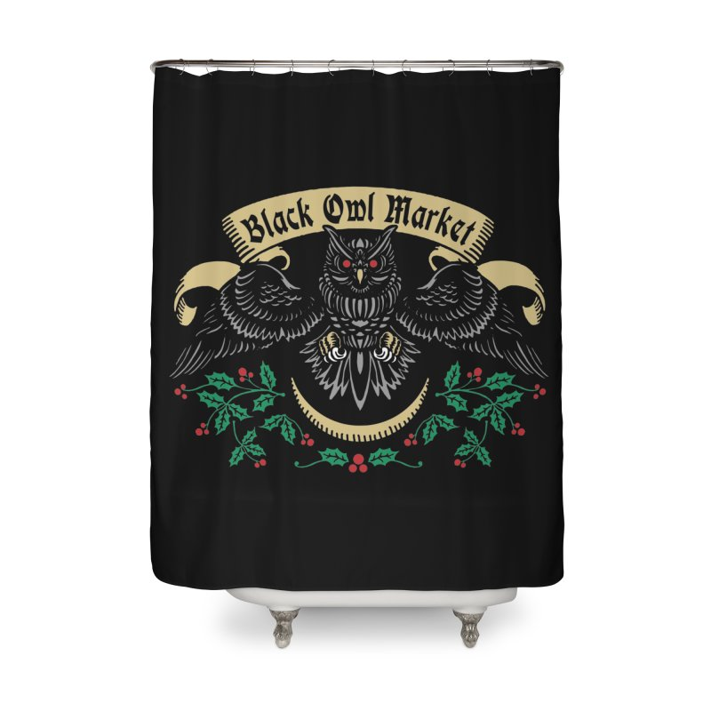 Black Owl Market Home Shower Curtain by nikolking's Artist Shop