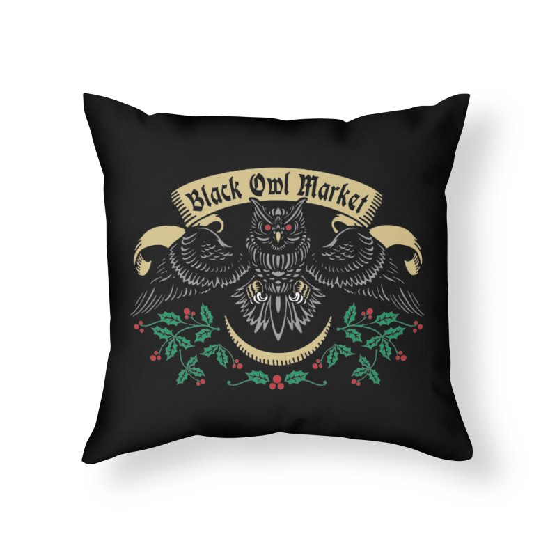 Black Owl Market Home Throw Pillow by nikolking's Artist Shop