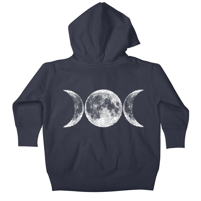8 Bit Triple Moon Kids Baby Zip-Up Hoody by Nikol King's Artist Shop