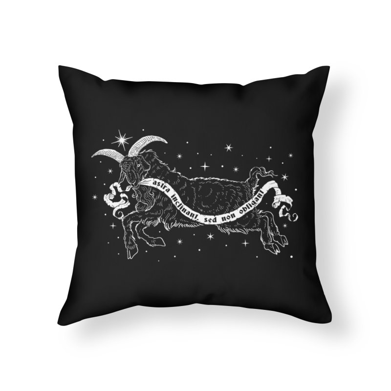 Night Goat Home Throw Pillow by Niko L King's Artist Shop