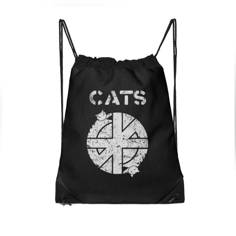 CRASS CATS Accessories Drawstring Bag Bag by Nikol King's Artist Shop