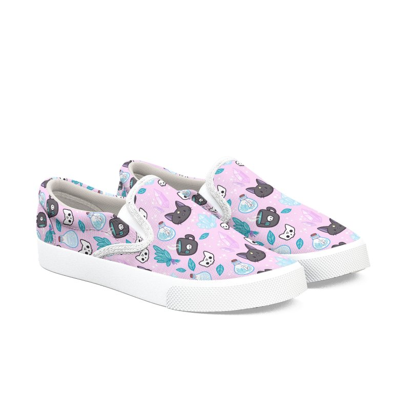 Herb Witch // Pink Women's Slip-On Shoes by Nikury Shop