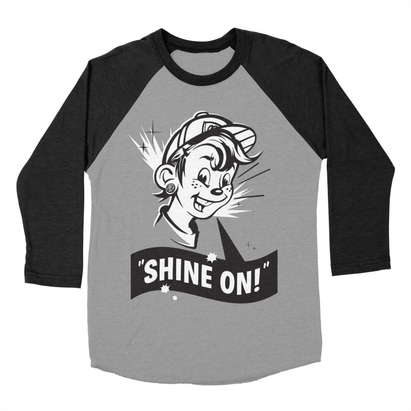Shine On! in Men's Baseball Triblend T-Shirt Heather Onyx Sleeves by Nina's World!