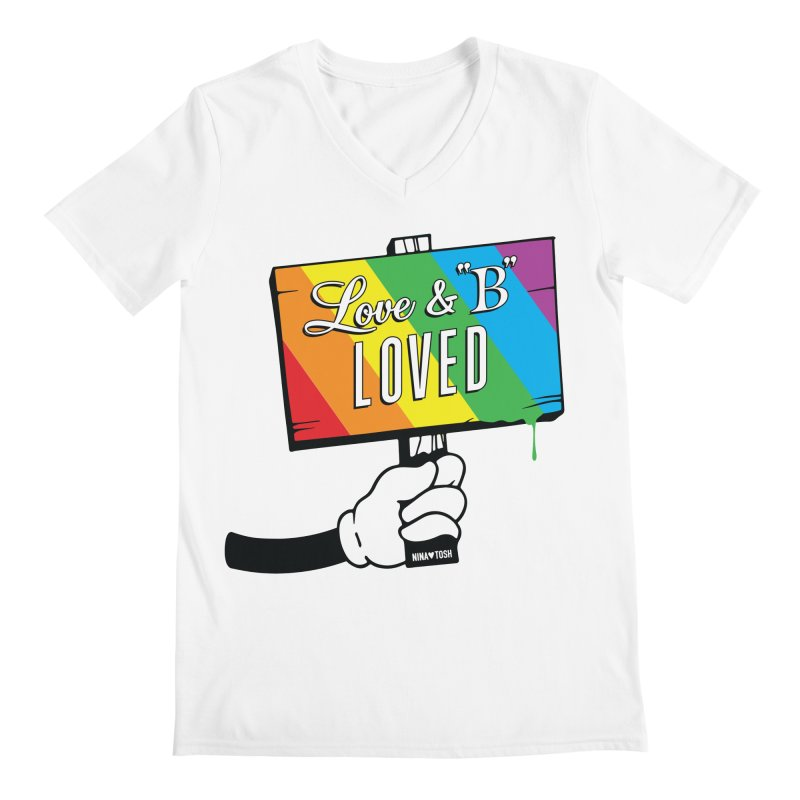 Love & B Loved - Happy Pride Men's Regular V-Neck by Nina's World!