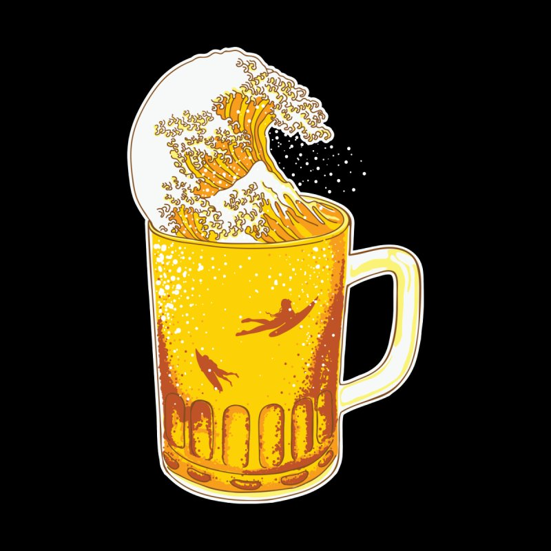 Beer Wave Men's T-Shirt by ninobenito's Artist Shop