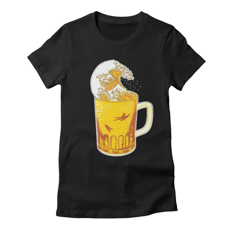 Beer Wave Women's Fitted T-Shirt by ninobenito's Artist Shop