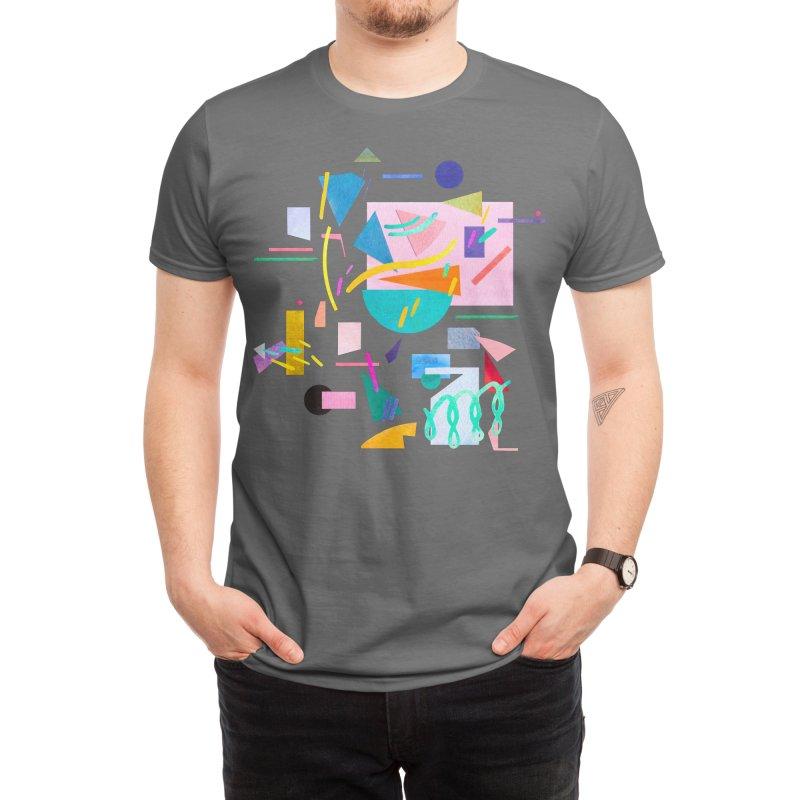 Geometric Collage Vintage Pop Men's T-Shirt by Ninola's Artist Shop