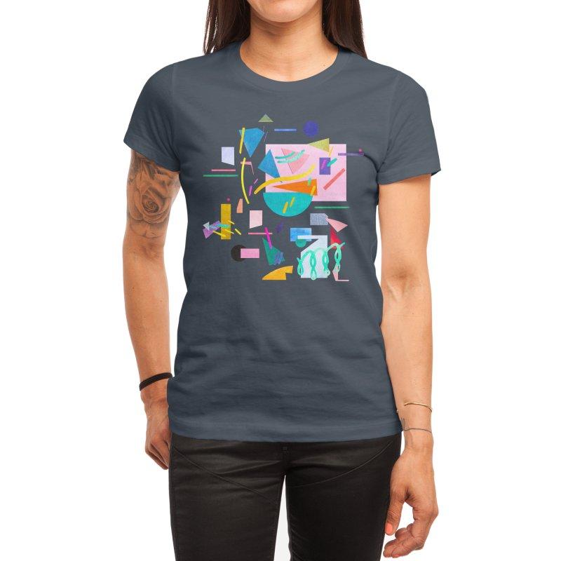 Geometric Collage Vintage Pop Women's T-Shirt by Ninola's Artist Shop