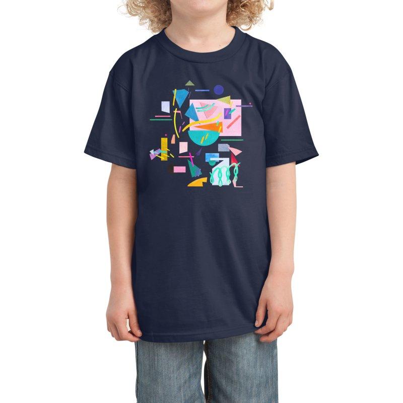 Geometric Collage Vintage Pop Kids T-Shirt by Ninola's Artist Shop