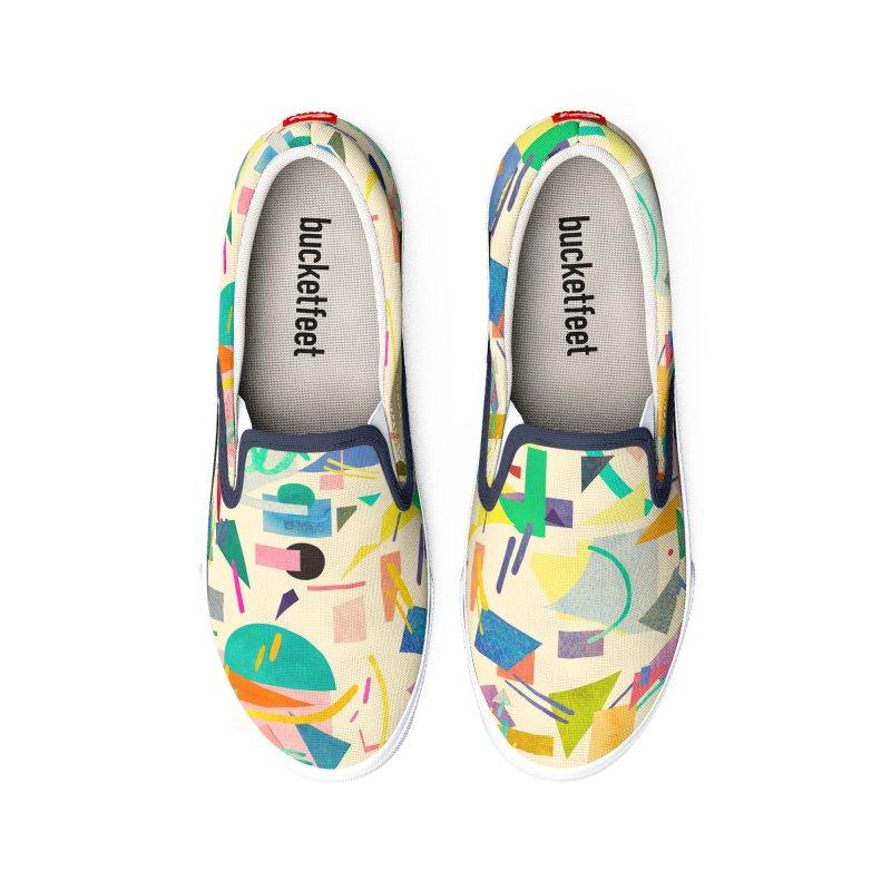 Geometric Collage Vintage Pop Men's Shoes by Ninola's Artist Shop