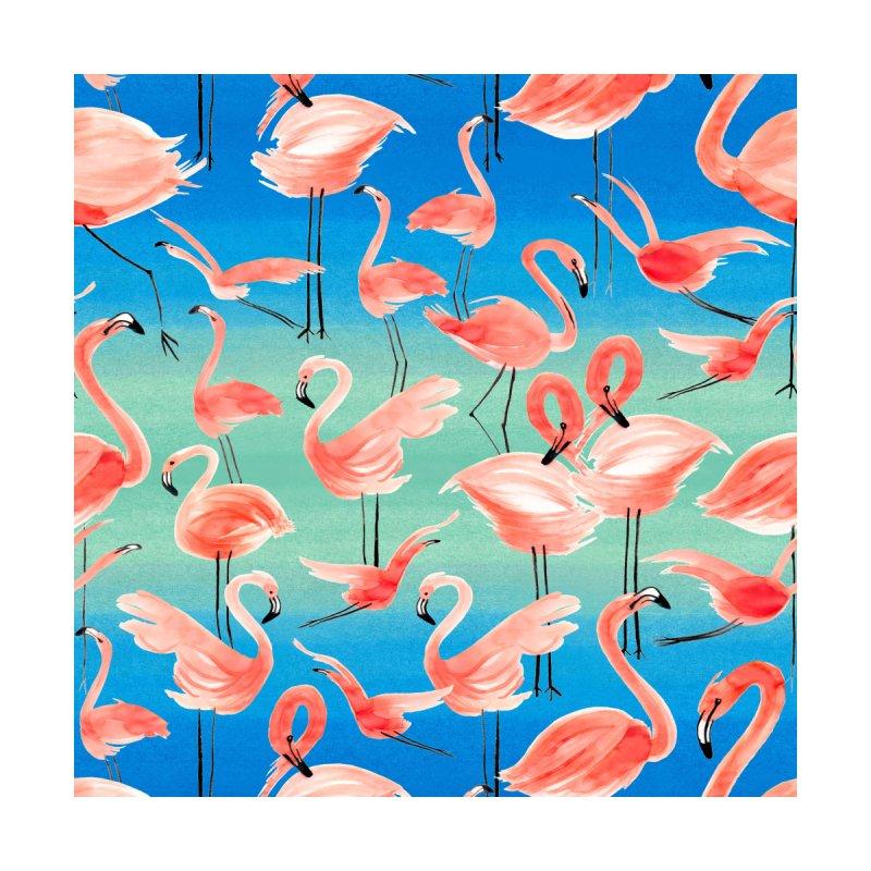 Tropical Pink Flamingos Kids T-Shirt by Ninola's Artist Shop