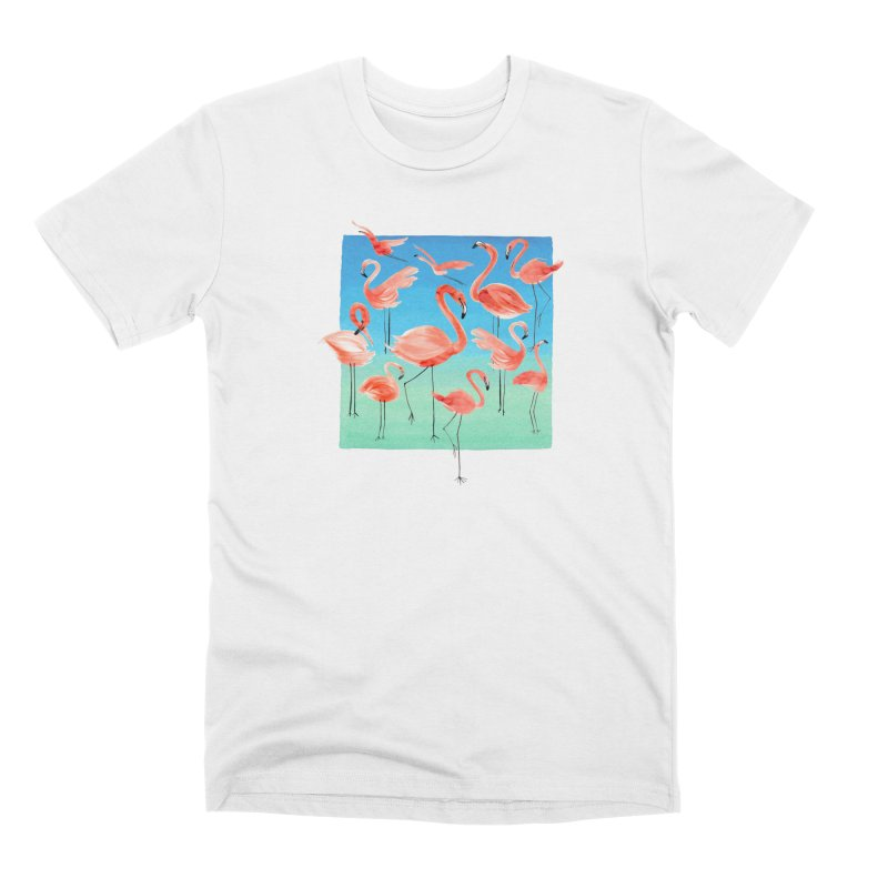 Tropical Pink Flamingos Men's T-Shirt by Ninola's Artist Shop