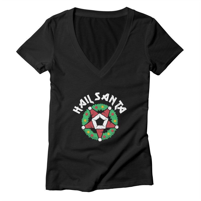 Hail Santa Women's Deep V-Neck V-Neck by Ninth Street Design's Artist Shop