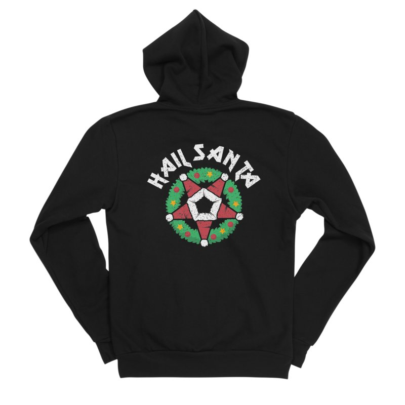 Hail Santa Men's Sponge Fleece Zip-Up Hoody by Ninth Street Design's Artist Shop