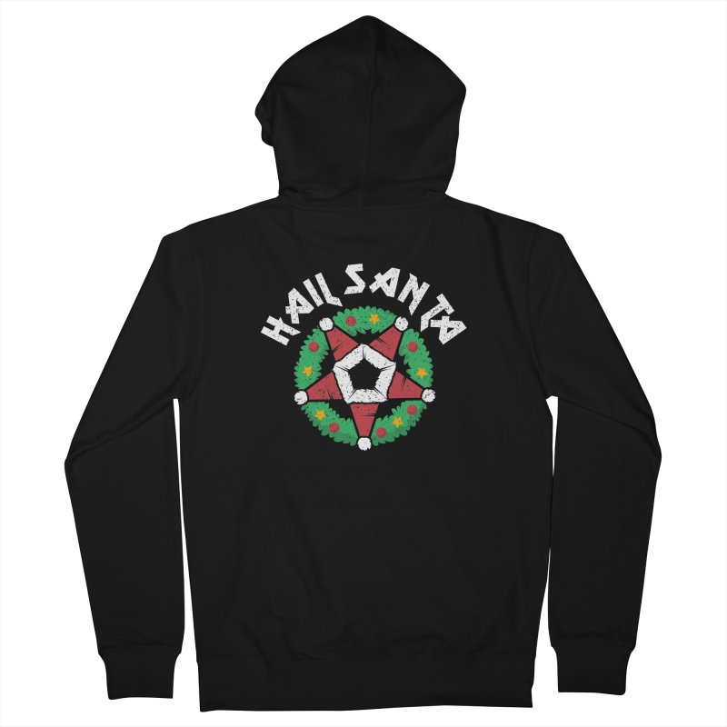 Hail Santa Men's French Terry Zip-Up Hoody by Ninth Street Design's Artist Shop