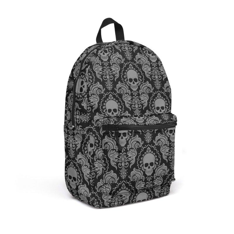 Skull Damask Accessories Backpack Bag by Ninth Street Design's Artist Shop
