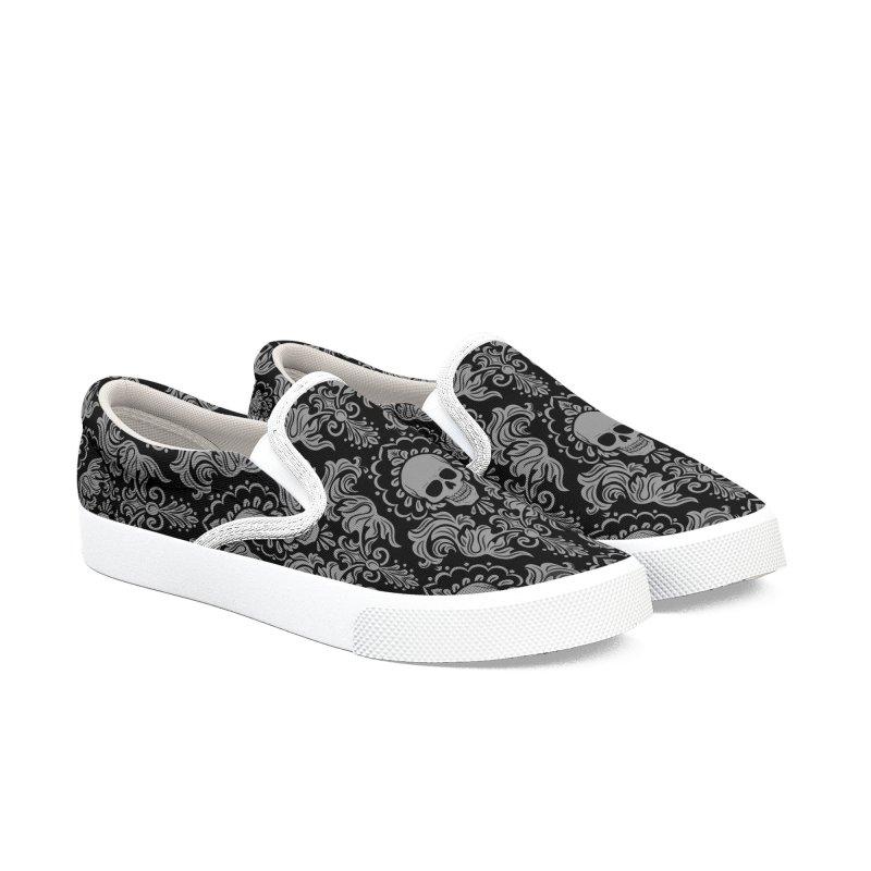 Skull Damask Men's Slip-On Shoes by Ninth Street Design's Artist Shop