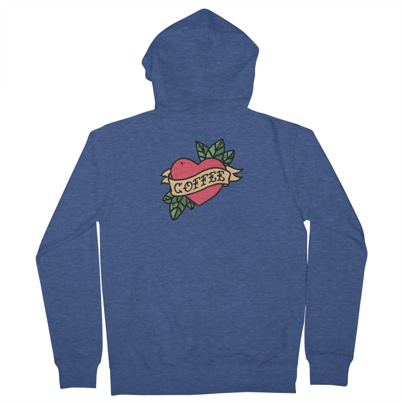 Hardcore Coffee Women's French Terry Zip-Up Hoody by Ninth Street Design's Artist Shop