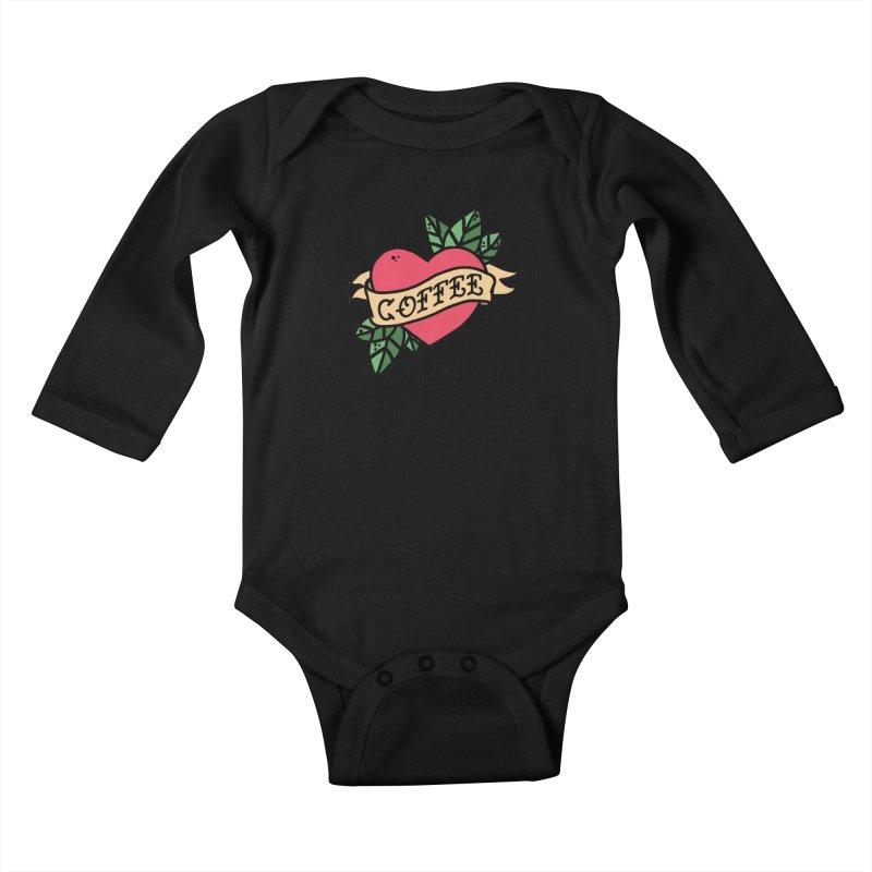 Hardcore Coffee Kids Baby Longsleeve Bodysuit by Ninth Street Design's Artist Shop