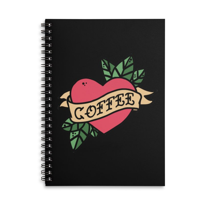 Hardcore Coffee Accessories Lined Spiral Notebook by Ninth Street Design's Artist Shop