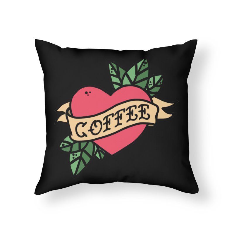 Hardcore Coffee Home Throw Pillow by Ninth Street Design's Artist Shop