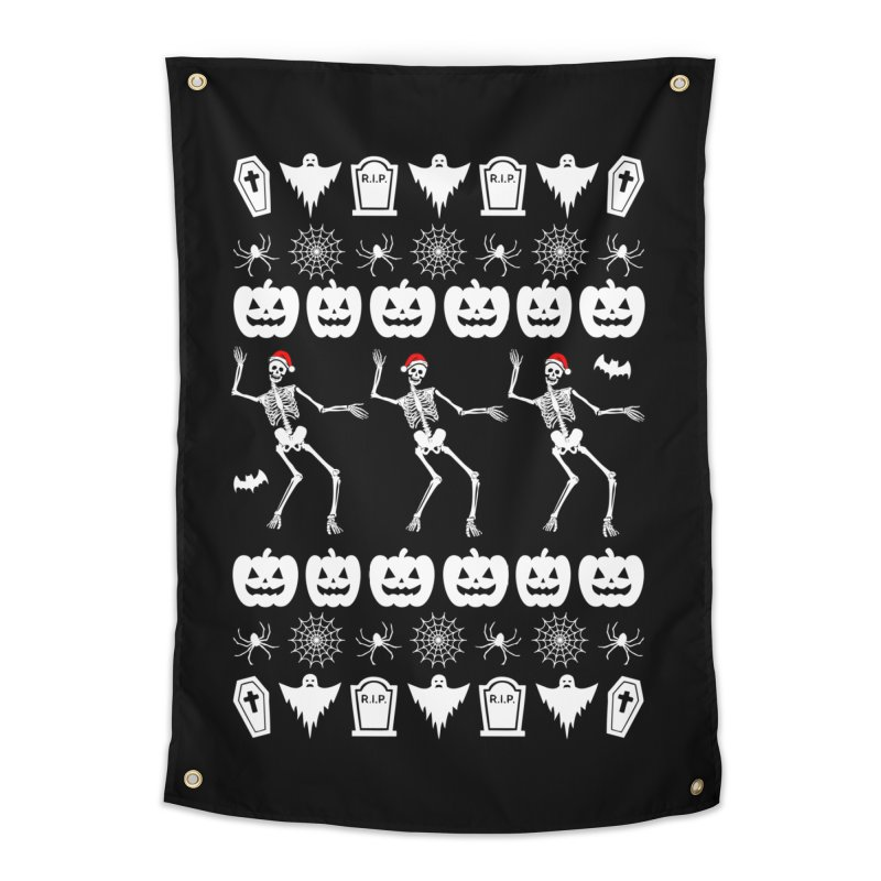 Spooky Christmas Sweater Home Tapestry by ninthstreetdesign's Artist Shop