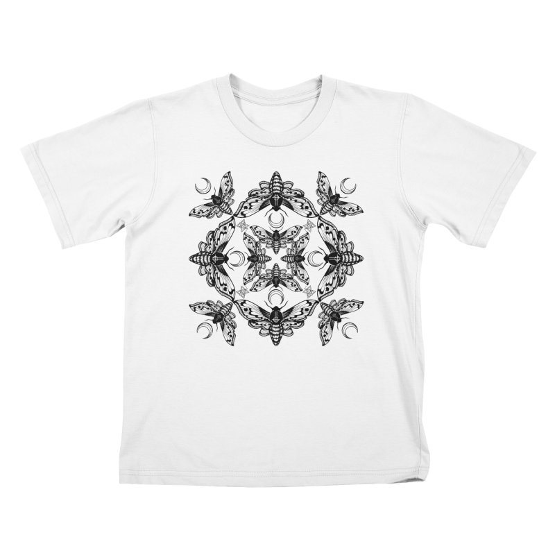 Ghost Cirice Moth Kaleidoscope Kids T-shirt by ninthstreetdesign's Artist Shop