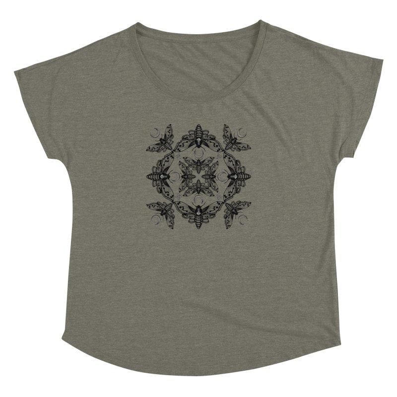 Ghost Cirice Moth Kaleidoscope Women's Dolman by ninthstreetdesign's Artist Shop