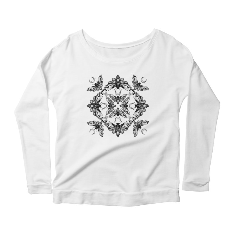Ghost Cirice Moth Kaleidoscope Women's Longsleeve Scoopneck  by ninthstreetdesign's Artist Shop