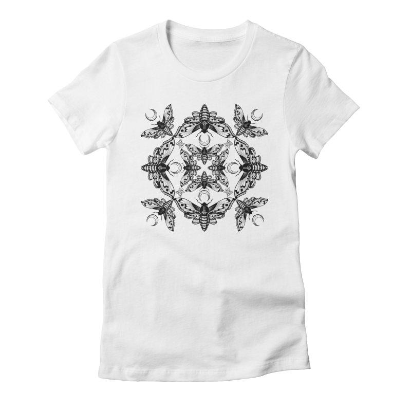 Ghost Cirice Moth Kaleidoscope Women's Fitted T-Shirt by ninthstreetdesign's Artist Shop